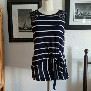 Postmark Anthropologie Striped Tie Front Top